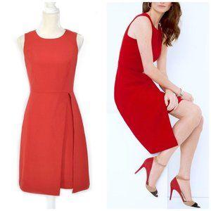 WHBM Red Split-Front Layered Sheath Dress